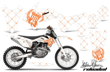 Graphics Kit Decal Wrap + # Plates For KTM SX/SXF/XCF/EXC/TC-F/XC/XCF-W 2013-2016 RELOADED ORANGE WHITE