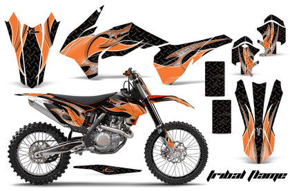 Graphics Kit Decal Wrap + # Plates For KTM SX/SXF/XCF/EXC/TC-F/XC/XCF-W 2013-2016 TRIBAL ORANGE BLACK