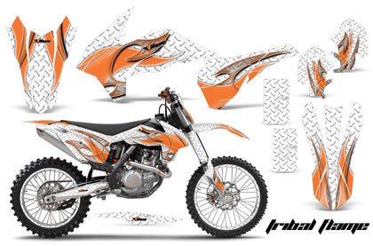 Graphics Kit Decal Wrap + # Plates For KTM SX/SXF/XCF/EXC/TC-F/XC/XCF-W 2013-2016 TRIBAL ORANGE WHITE