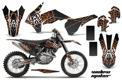 Graphics Kit Decal Wrap + # Plates For KTM SX/SXF/XCF/EXC/TC-F/XC/XCF-W 2013-2016 WIDOW ORANGE BLACK