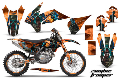 Graphics Kit Decal Wrap + # Plates For KTM SX/SXF/XCF/EXC/TC-F/XC/XCF-W 2013-2016 ZOMBIE ORANGE