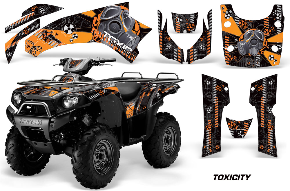 ATV Graphics Kit Quad Decal Wrap For Kawasaki Brute Force 750i 2005-2011 TOXIC ORANGE BLACK