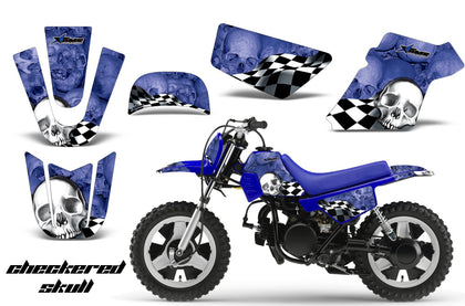 Dirt Bike Graphics Kit MX Decal Wrap For Yamaha PW50 PW 50 1990-2019 CHECKERED BLUE WHITE