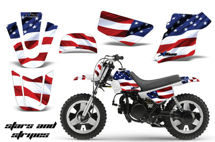 Dirt Bike Graphics Kit MX Decal Wrap For Yamaha PW50 PW 50 1990-2019 USA FLAG-atv motorcycle utv parts accessories gear helmets jackets gloves pantsAll Terrain Depot