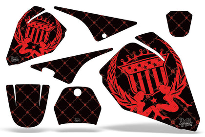 Dirt Bike Decal Graphic Kit Sticker Wrap For Yamaha PW80 PW 80 1996-2006 RELOADED RED BLACK