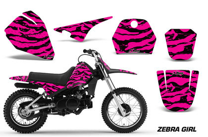 Dirt Bike Decal Graphic Kit Sticker Wrap For Yamaha PW80 PW 80 1996-2006 ZEBRA PINK BLACK