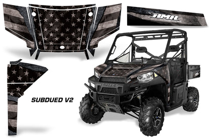 UTV Graphics Kit SxS Decal Wrap For Polaris Ranger 570 900 2013-2015 SUBDUED V2