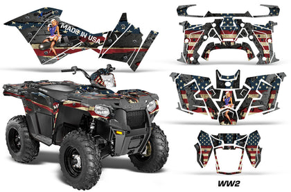 ATV Graphics Kit Decal Quad Wrap For Polaris Sportsman 570 2014-2017 WW2 BOMBER