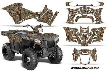 ATV Graphics Kit Decal Quad Wrap For Polaris Sportsman 570 2014-2017 WOODLAND CAMO