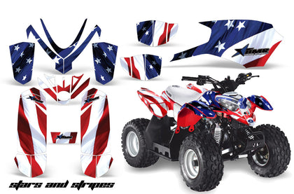 ATV Graphics Kit Quad Decal Sticker Wrap For Polaris Outlaw 50 2008-2018 USA FLAG-atv motorcycle utv parts accessories gear helmets jackets gloves pantsAll Terrain Depot