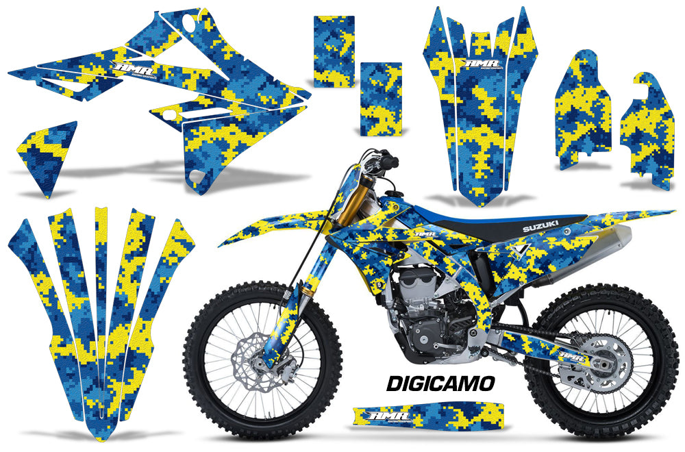 Graphics Kit Decal Sticker Wrap + # Plates For Suzuki RMZ450 2018+ DIGICAMO BLUE YELLOW-atv motorcycle utv parts accessories gear helmets jackets gloves pantsAll Terrain Depot