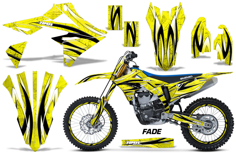 Graphics Kit Decal Sticker Wrap + # Plates For Suzuki RMZ450 2018+ FADE YELLOW-atv motorcycle utv parts accessories gear helmets jackets gloves pantsAll Terrain Depot