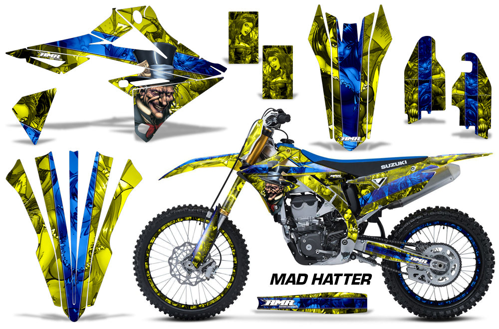 Graphics Kit Decal Sticker Wrap + # Plates For Suzuki RMZ450 2018+ HATTER BLUE YELLOW