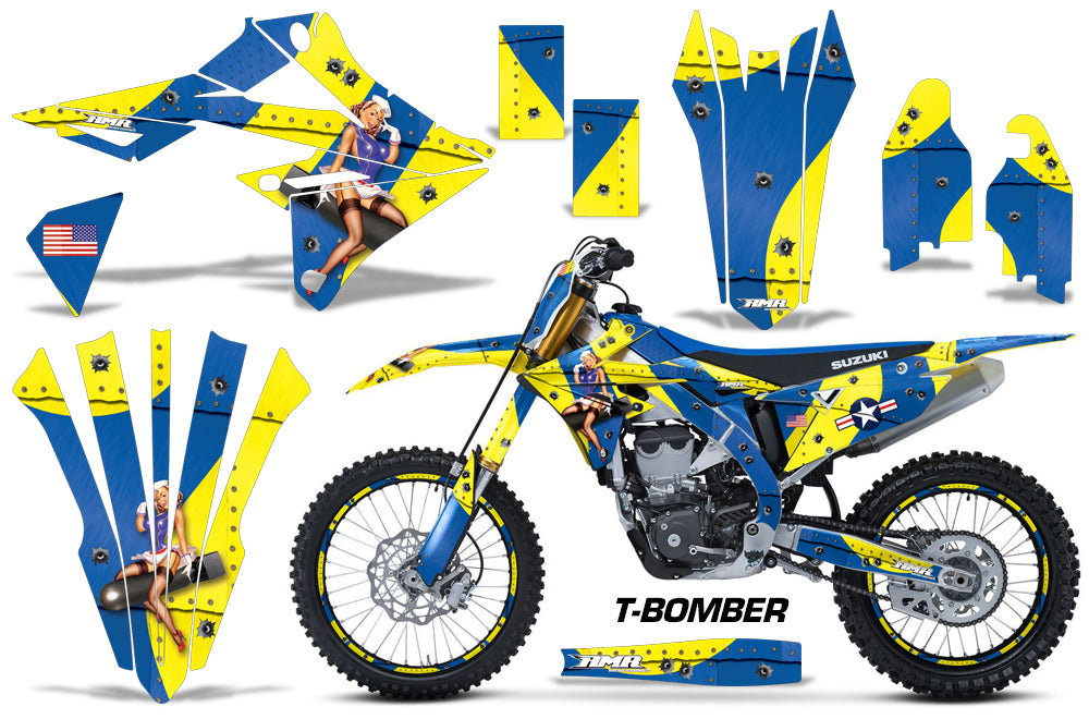 Graphics Kit Decal Sticker Wrap + # Plates For Suzuki RMZ450 2018+ TBOMBER YELLOW BLUE-atv motorcycle utv parts accessories gear helmets jackets gloves pantsAll Terrain Depot