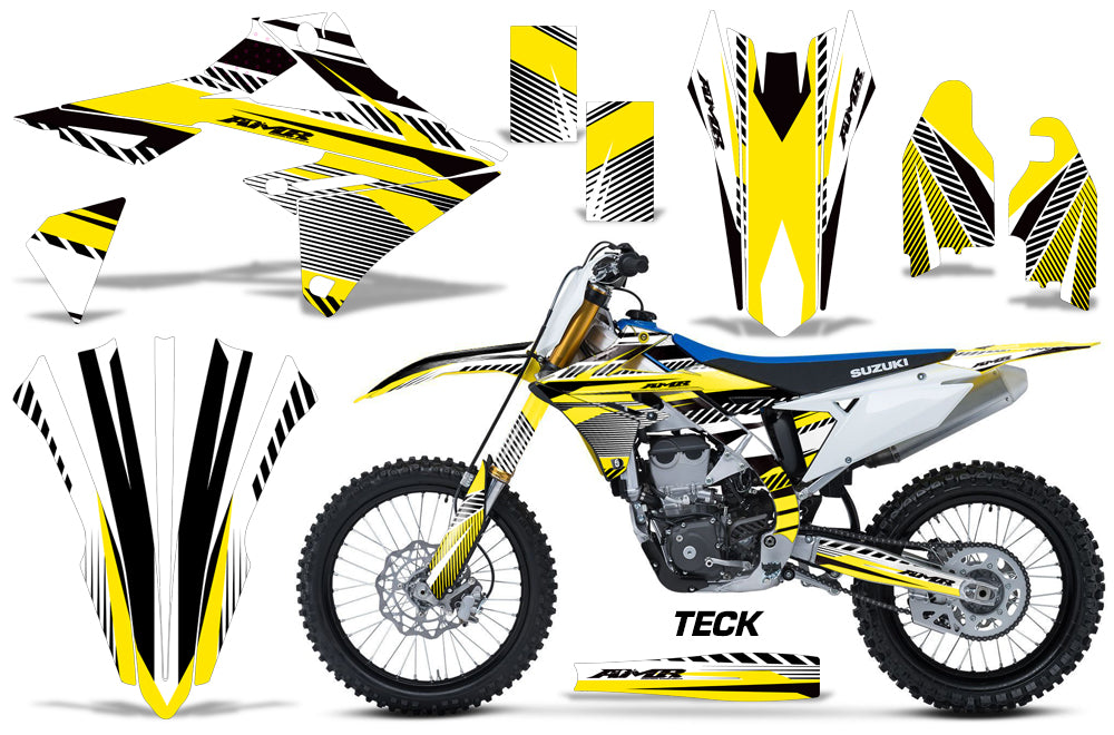 Dirt Bike Graphics Kit Decal Sticker Wrap For Suzuki RMZ450 2018+ TECK YELLOW