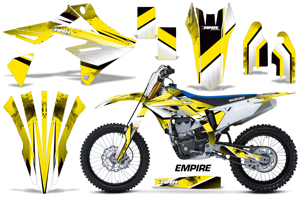 Dirt Bike Graphics Kit Decal Sticker Wrap For Suzuki RMZ450 2018+ EMPIRE YELLOW