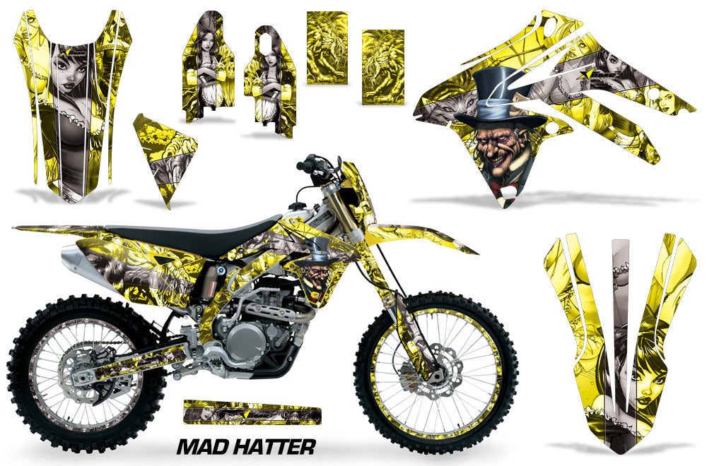 Graphics Kit Decal Sticker Wrap + # Plates For Suzuki RMX450Z 2009-2017 HATTER SILVER YELLOW-atv motorcycle utv parts accessories gear helmets jackets gloves pantsAll Terrain Depot