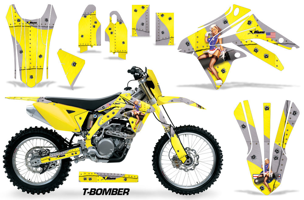 Dirt Bike Graphic Kit Decal Sticker Wrap For Suzuki RMX450Z 2009-2017 TBOMBER YELLOW