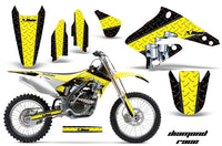 Dirt Bike Graphics Kit Decal Sticker Wrap For Suzuki RMZ250 2004-2006 DIAMOND RACE YELLOW BLACK