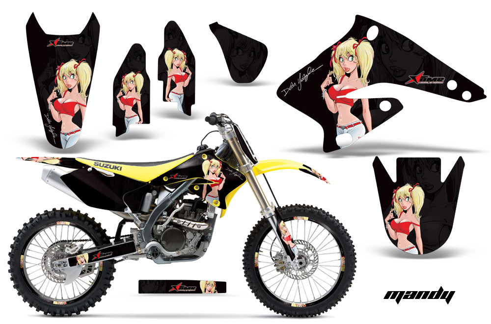 Graphics Kit Decal Sticker Wrap + # Plates For Suzuki RMZ250 2004-2006 MANDY RED BLACK