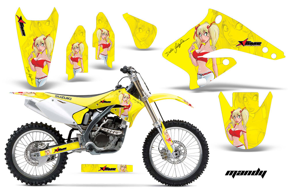 Dirt Bike Graphics Kit Decal Sticker Wrap For Suzuki RMZ250 2004-2006 MANDY RED YELLOW