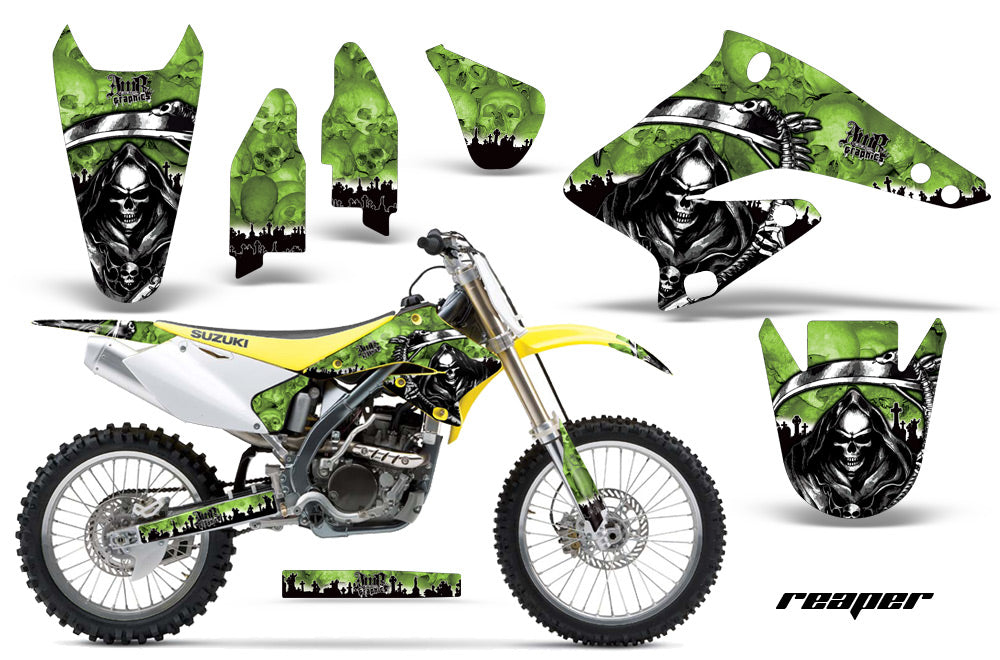 Dirt Bike Graphics Kit Decal Sticker Wrap For Suzuki RMZ250 2004-2006 REAPER GREEN-atv motorcycle utv parts accessories gear helmets jackets gloves pantsAll Terrain Depot