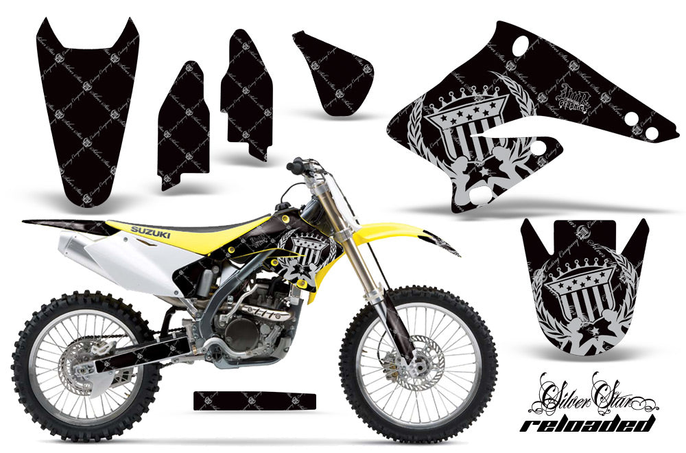 Dirt Bike Graphics Kit Decal Sticker Wrap For Suzuki RMZ250 2004-2006 RELOADED SILVER BLACK