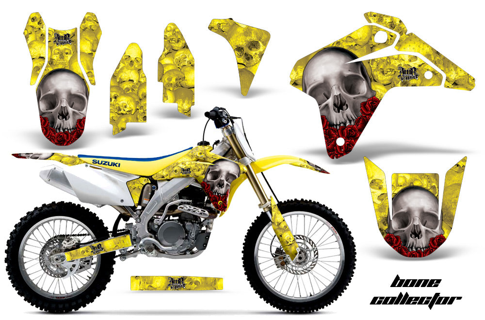 Dirt Bike Graphics Kit Decal Sticker Wrap For Suzuki RMZ450 2005-2006 BONES YELLOW