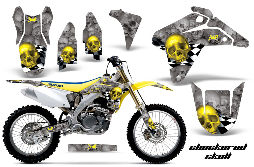 Dirt Bike Graphics Kit Decal Sticker Wrap For Suzuki RMZ450 2005-2006 CHECKERED YELLOW SILVER