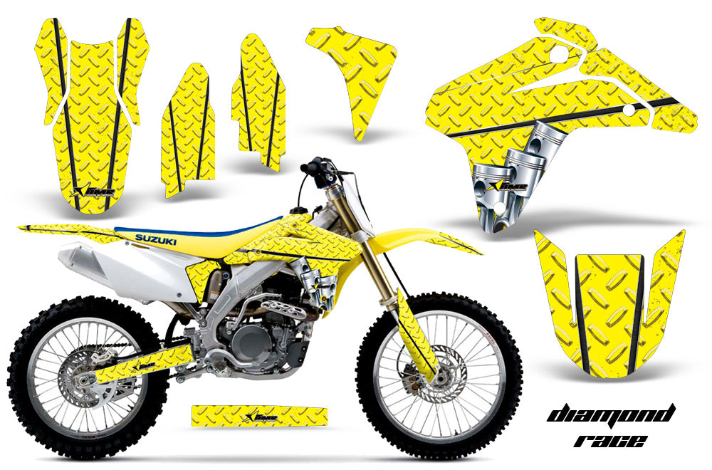 Dirt Bike Graphics Kit Decal Sticker Wrap For Suzuki RMZ450 2005-2006 DIAMOND RACE YELLOW-atv motorcycle utv parts accessories gear helmets jackets gloves pantsAll Terrain Depot