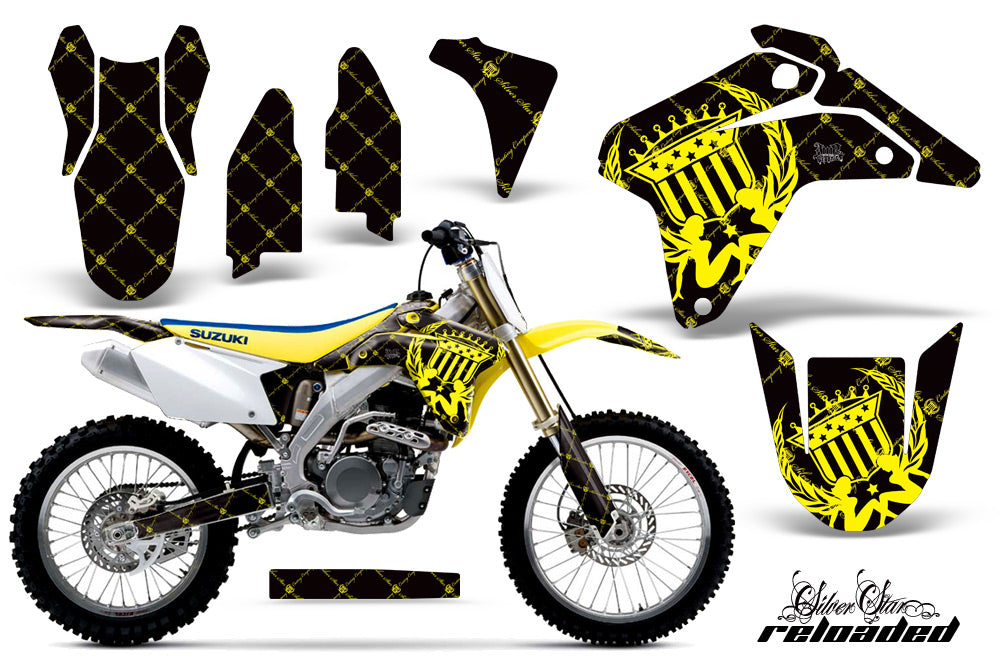 Dirt Bike Graphics Kit Decal Sticker Wrap For Suzuki RMZ450 2005-2006 RELOADED YELLOW BLACK-atv motorcycle utv parts accessories gear helmets jackets gloves pantsAll Terrain Depot