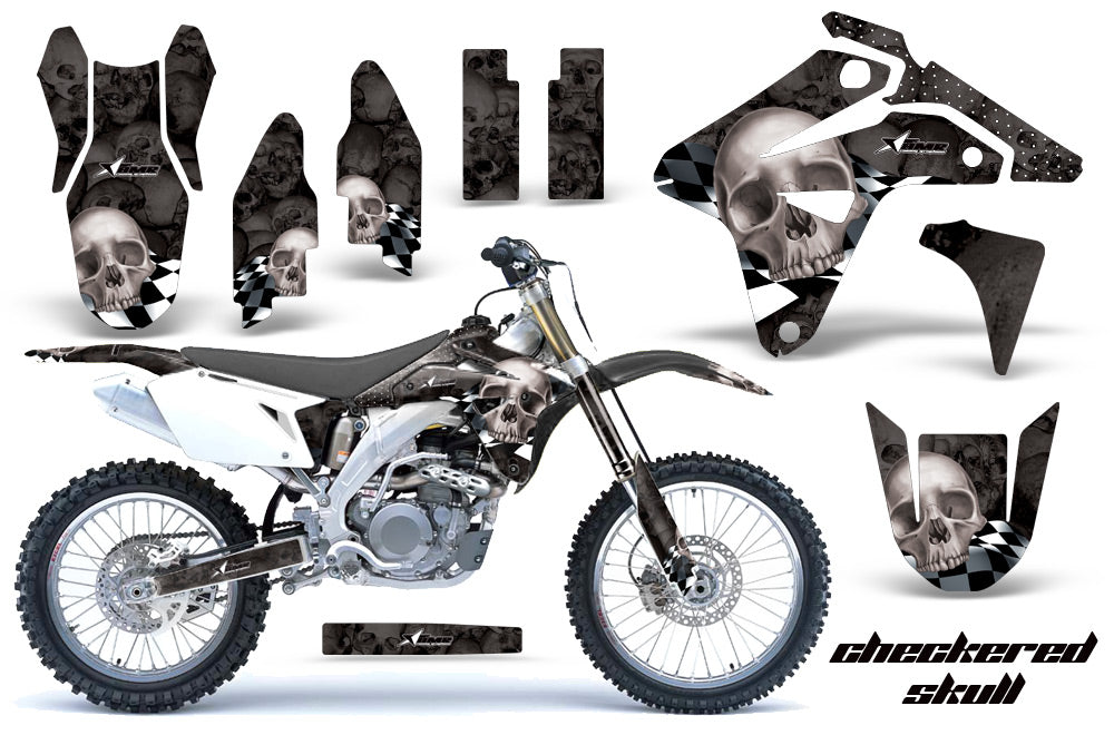 Dirt Bike Graphics Kit MX Decal Sticker Wrap For Suzuki RMZ450 2007 CHECKERED SILVER BLACK