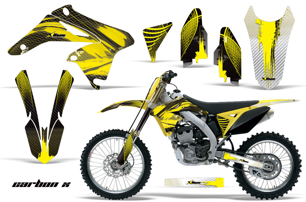 Dirt Bike Graphics Kit Decal Sticker Wrap For Suzuki RMZ250 2010-2016 CARBONX YELLOW