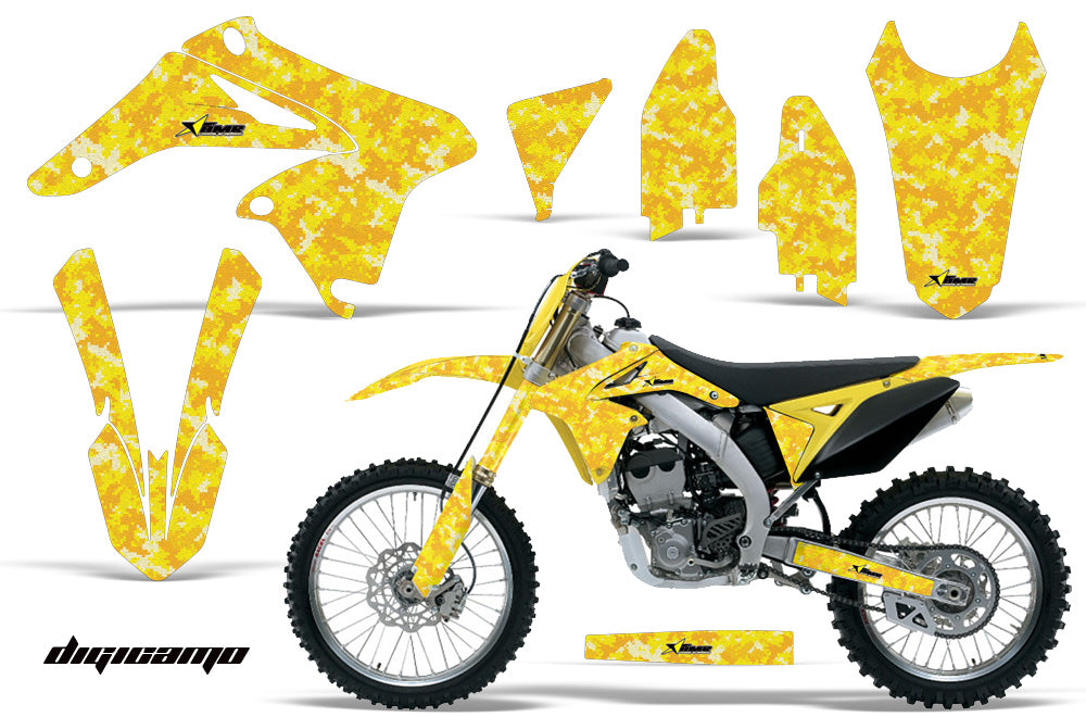 Dirt Bike Graphics Kit Decal Sticker Wrap For Suzuki RMZ250 2010-2016 DIGICAMO YELLOW