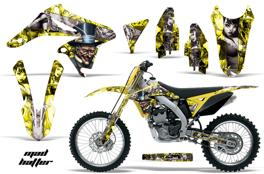 Dirt Bike Graphics Kit Decal Sticker Wrap For Suzuki RMZ250 2010-2016 HATTER SILVER YELLOW