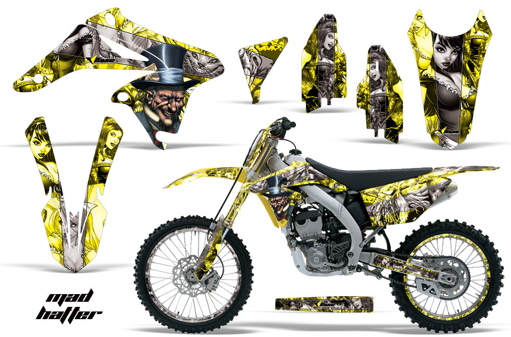 Graphics Kit Decal Sticker Wrap + # Plates For Suzuki RMZ250 2010-2016 HATTER SILVER YELLOW