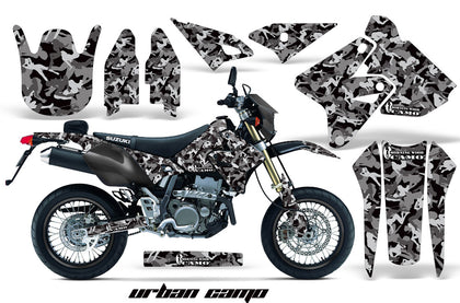 Dirt Bike Graphics Kit Decal Sticker Wrap For Suzuki DRZ400SM 2000-2018 URBAN CAMO BLACK