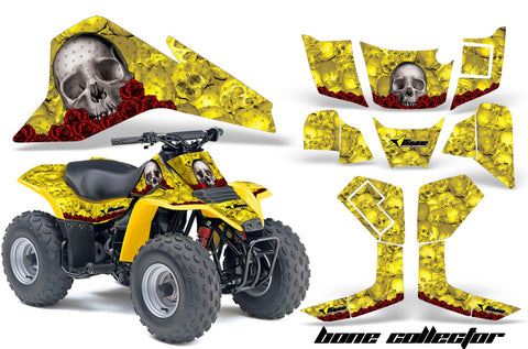 ATV Graphics Kit Quad Decal Sticker Wrap For Suzuki LT80 1987-2006 BONES  YELLOW