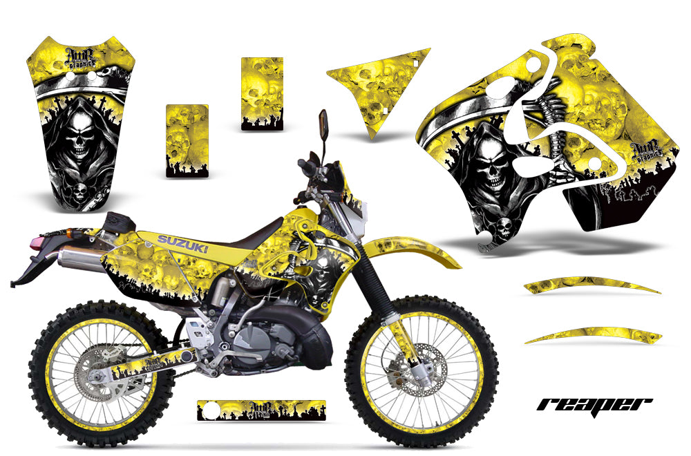 Graphics Kit Decal Sticker Wrap + # Plates For Suzuki RMX250S 1996-1998 REAPER YELLOW