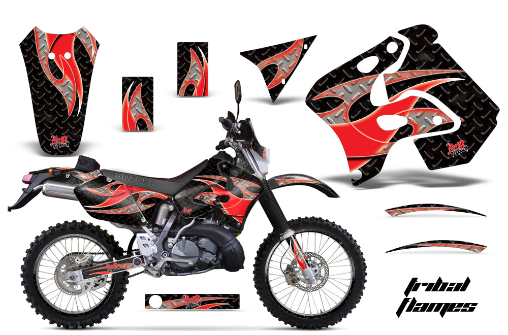 Graphics Kit Decal Sticker Wrap + # Plates For Suzuki RMX250S 1996-1998 TRIBAL RED BLACK