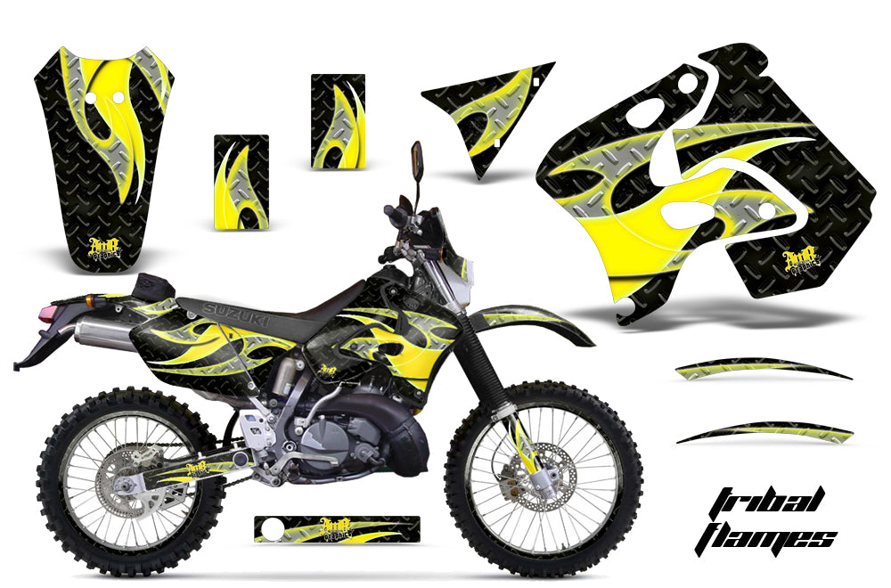 Graphics Kit Decal Sticker Wrap + # Plates For Suzuki RMX250S 1996-1998 TRIBAL YELLOW BLACK
