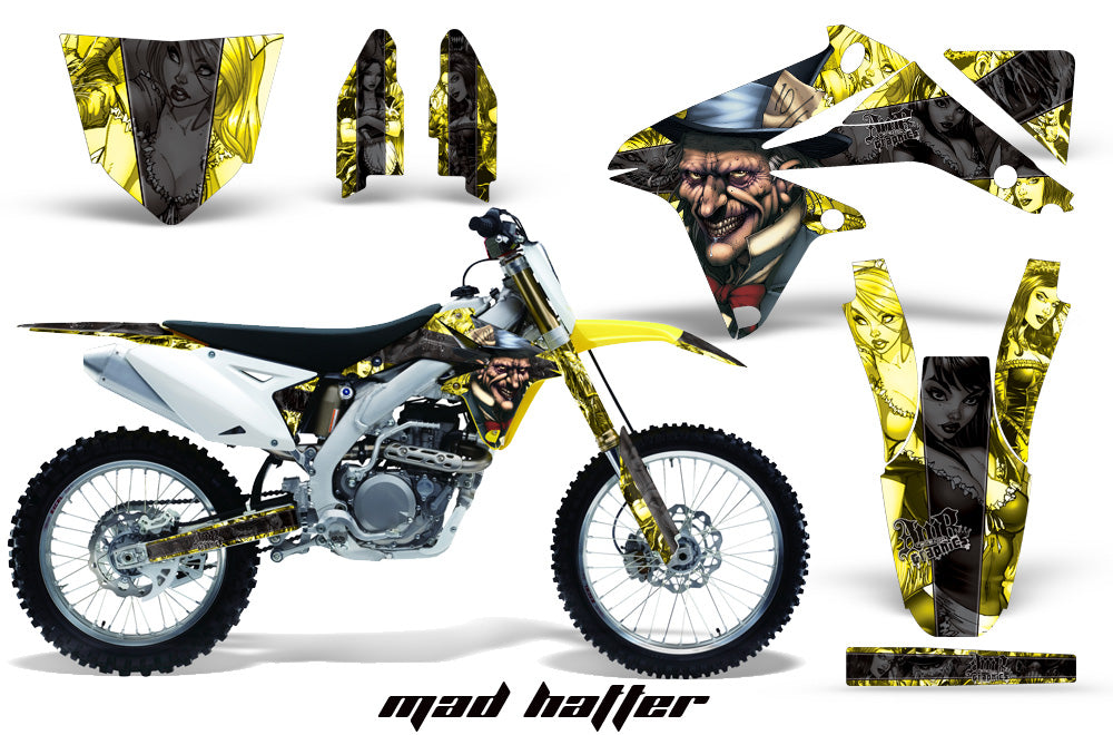 Dirt Bike Decal Graphics Kit Sticker Wrap For Suzuki RMZ450 2008-2017 HATTER BLACK YELLOW