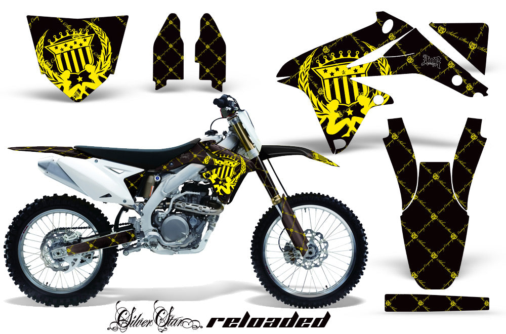 Dirt Bike Decal Graphics Kit Sticker Wrap For Suzuki RMZ450 2008-2017 RELOADED YELLOW BLACK