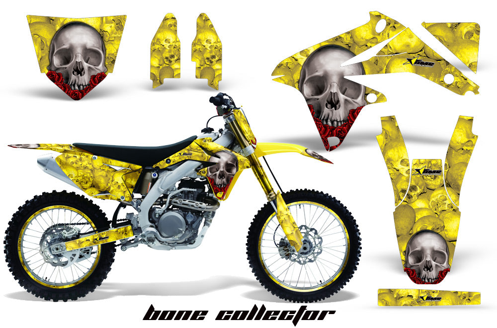 Graphics Kit Decal Sticker Wrap + # Plates For Suzuki RMZ450 2008-2017 BONES YELLOW-atv motorcycle utv parts accessories gear helmets jackets gloves pantsAll Terrain Depot