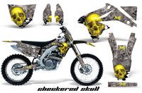 Graphics Kit Decal Sticker Wrap + # Plates For Suzuki RMZ450 2008-2017 CHECKERED YELLOW