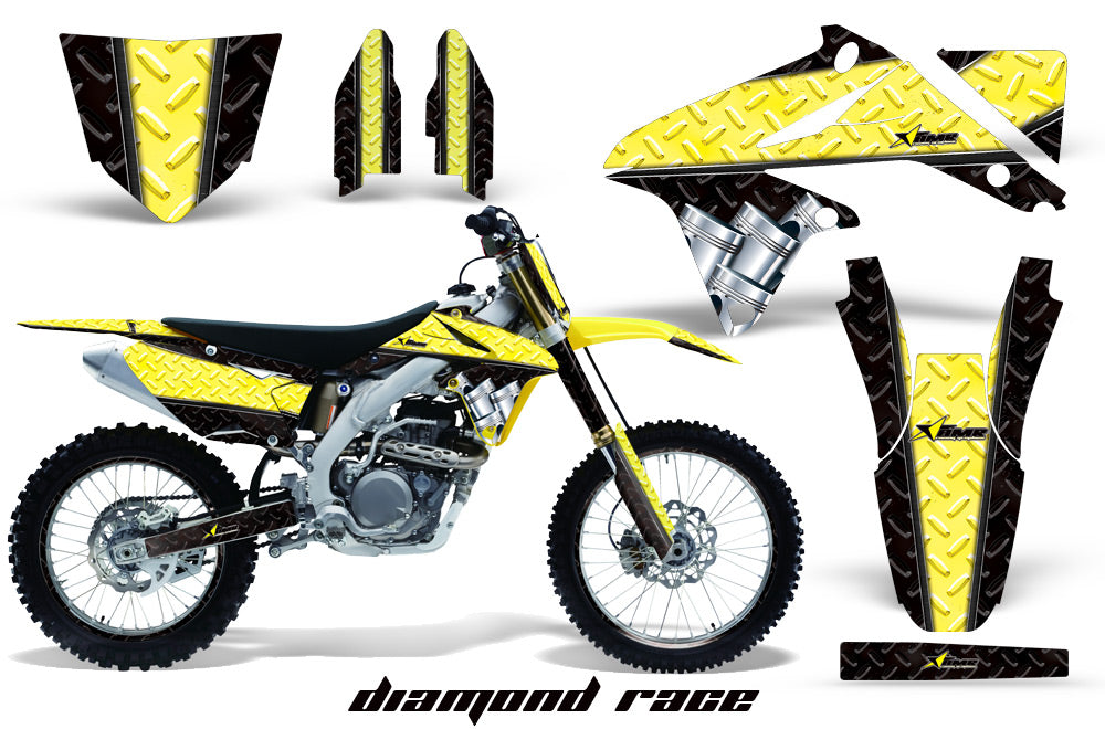 Graphics Kit Decal Sticker Wrap + # Plates For Suzuki RMZ450 2008-2017 DIAMOND RACE YELLOW BLACK-atv motorcycle utv parts accessories gear helmets jackets gloves pantsAll Terrain Depot