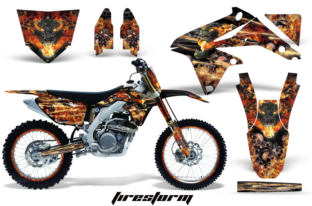 Graphics Kit Decal Sticker Wrap + # Plates For Suzuki RMZ450 2008-2017 FIRESTORM BLACK