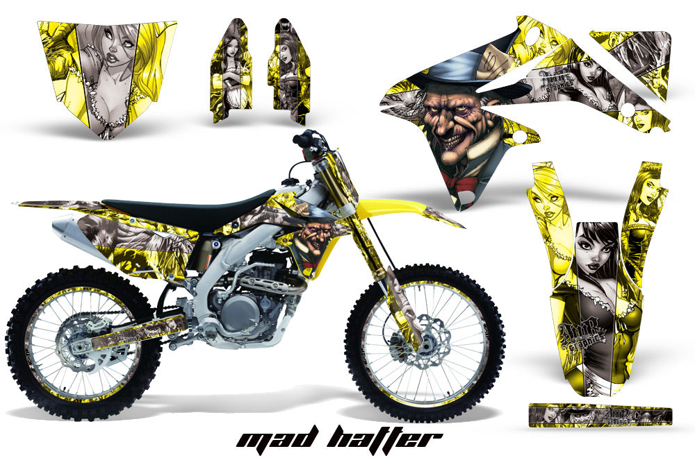 Graphics Kit Decal Sticker Wrap + # Plates For Suzuki RMZ450 2008-2017 HATTER SILVER YELLOW