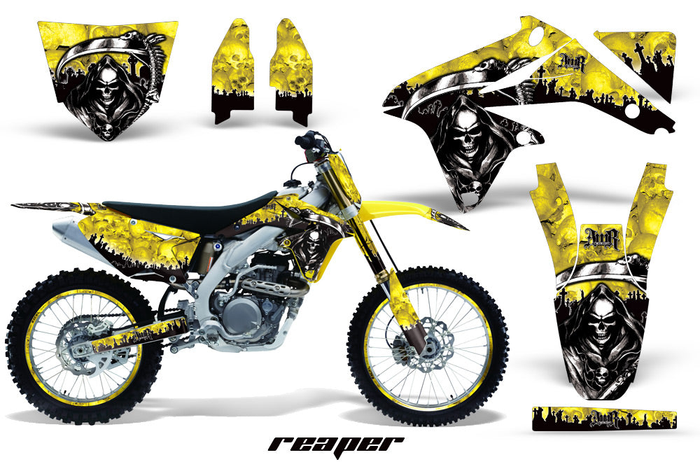 Graphics Kit Decal Sticker Wrap + # Plates For Suzuki RMZ450 2008-2017 REAPER YELLOW-atv motorcycle utv parts accessories gear helmets jackets gloves pantsAll Terrain Depot