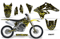 Dirt Bike Graphics Kit Decal Sticker Wrap For Suzuki RMZ250 2007-2009 SWIFT YELLOW BLACK